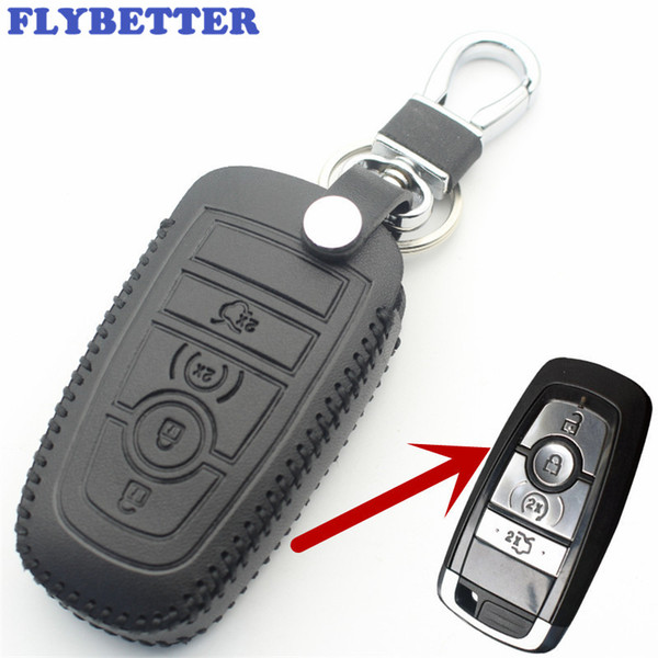 FLYBETTER En Cuir Véritable 4Button À Distance Smart Key Cover Cover Pour Ford Fusion / Nouveau Mondeo / Edge / Expédition Car Styling L69