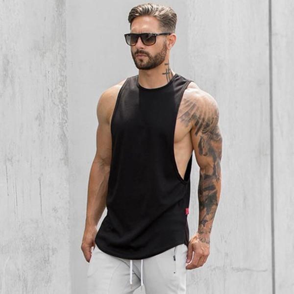 Mens Gym Tshirt Running Sport Clothing Fitness Bodybuilding Tanktop Stringer Singlet Crossfit Solid Sleeveless Tshirts Male
