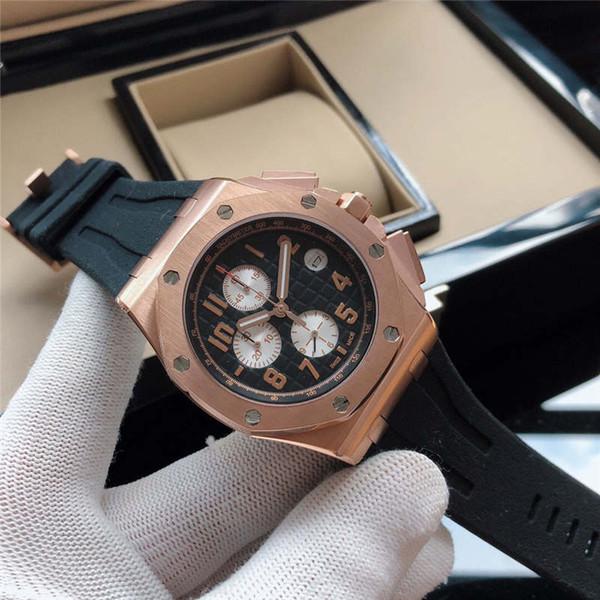 Mens Designer Reloj de lujo Cronógrafo Cronómetro Movimiento de cuarzo 44mm Caja de acero inoxidable 316L Banda de goma Reloj de zafiro Reloj con caja