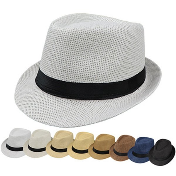 Chapeaux Mode pour Femmes Fedora Trilby Gangster Cap Summer Beach Soleil Chapeau De Paille Panama Avec Ruban Bande Sunhat ZZA1005