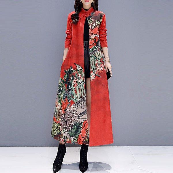 2018 Güz Bahar Kadın Kırmızı Gri Çiçek Baskı Uzun Süet Trençkotlar, Bayan Giyim Mandarin Yaka Çiçek Gevşek Mont
