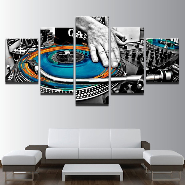 Modular Wall Art Canvas Posters Modern Home Decor 5 Pieces Hand Plate DJ Music Console Instrument HD Prints Unframed Painting