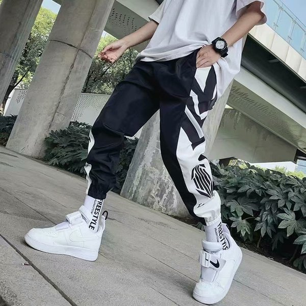 2019 Designer design Pocket Cool Loose Men Cool HipHop Striped New Fashion Black Joggers Pants Trousers Men Streetwear