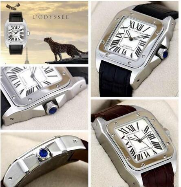 Sport 100 XL Black Herren Automatic Mechanical Glide glatte Uhr Mens Date Sports 40MM Lederband Armbanduhren