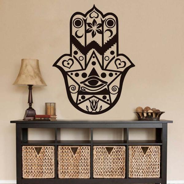 1 Pcs Wall Sticker For Living Room Hamsa Hand Wall Decals Vinyl Yoga Bedroom Decal Art Removable Home Decor Adhesive Arabic Pray