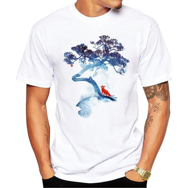 T shirt Men The last apple tree Fashion Art Printed Cool t shirt Men Summer Short Sleeve Fox print Casual White Tops tee