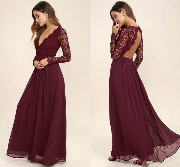 Burgundy Chiffon Bridesmaid Dresses Long Sleeves Western Country Style V-Neck Backless Long Beach Lace Top Wedding Party Dresses Cheap