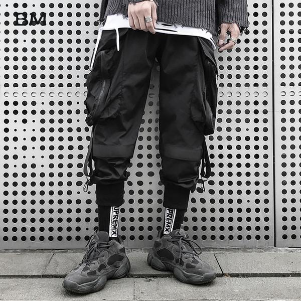 Homens Fashions Motorcycle Pants Hip Hop Calças Casual 2019 Streetwear Corredores K-pop coreano Techwear Preto Harem Meninos