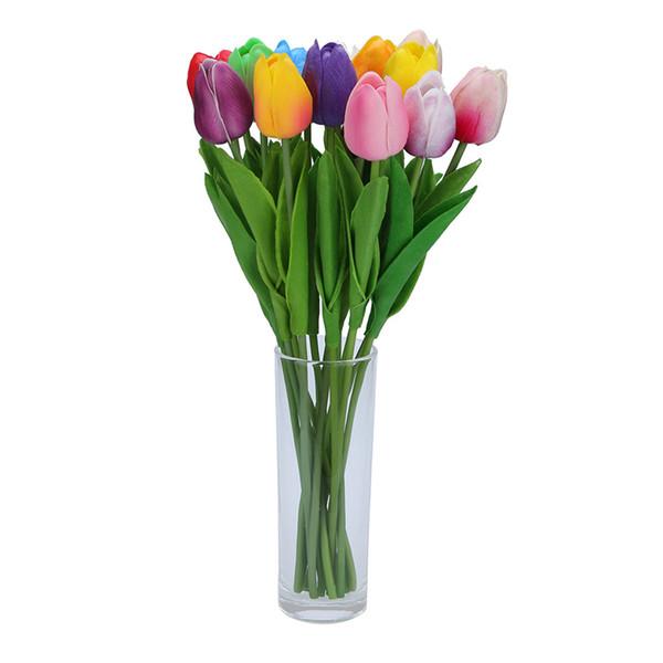 1pcs Home Decor Mini Tulip Artificial Flowers Latex Fake Flower Wedding Bouquet For Wedding Decorations Dropship March2