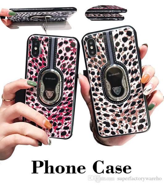 Designer für iphone case luxus leopard telefonabdeckung geprägt mit auto magnet und handyhalter für iphone 6/7/8 / x / xr / xs / xs max von dhl