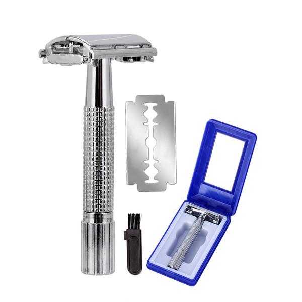 best selling Upgrade Wet Shaving Safety Blade Razor Shaver Handle Barber Men's Manual Beard Hair Care +1 Travel Case