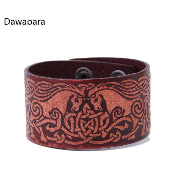 Dawapara Double Horses Head to Head Mane Knot Leather Wide Cuff Men's Bracelets