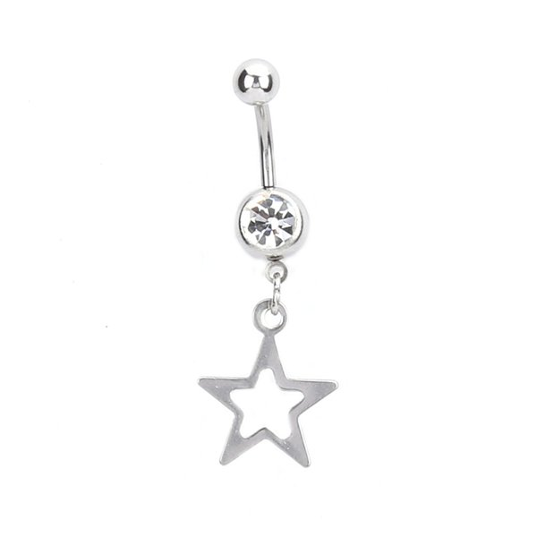 New belly button rings Bar steel Piercing Sexy Body Jewelry women Hollow Five stars pendant