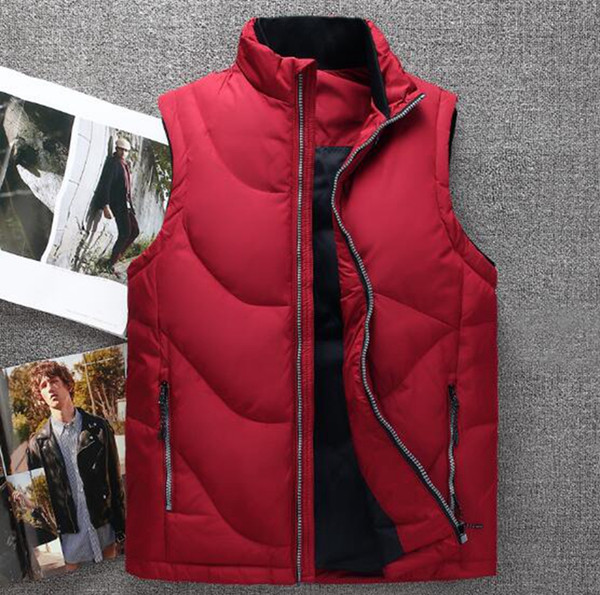Men's Korean version of new boutique special personality handsome fashion thickened warm collar winter outdoor down jacket vest / M-3XL