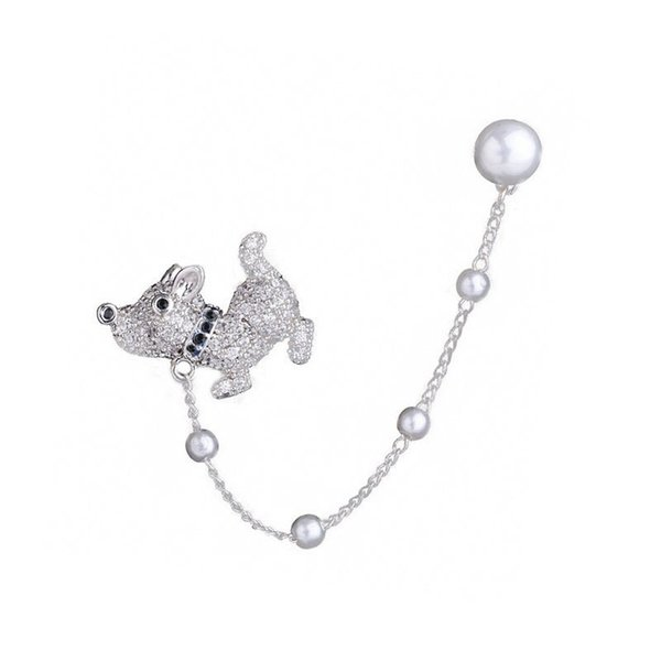 Cute fun puppy pearl chain earrings Korean version of the wild personality animal dog ear clip 925 silver needle jewelry wholesale