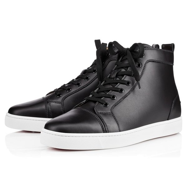 Black Genuine Leather Sneaker Flat High