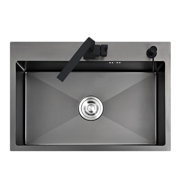 top popular Black kitchen sink above counter or udermount vegetable washing basin sink kitchen black stainless steel seamless welding pia 2021