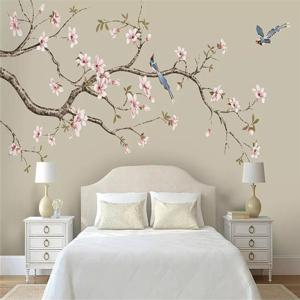 Wallpaper mural customization decorative wall Magnolia Chinese hand-painted flowers and birds pens flowers and birds background