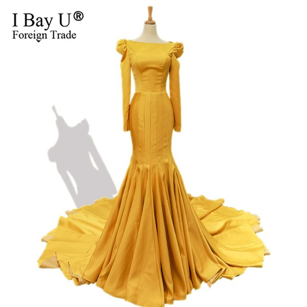 Dubaï luxe doré jaune sirène sexy robes de soirée de bal 2019 manches longues Plus la taille robes de soirée musulmanes