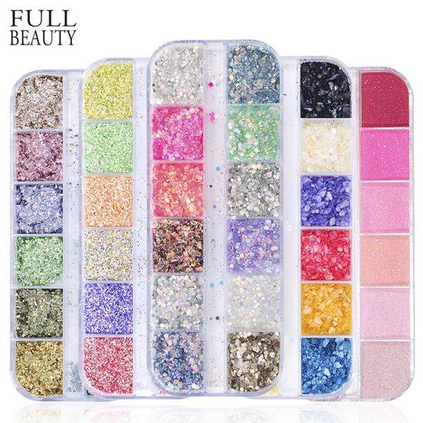 12 Rejillas Mixtas Nail Glitter Espejo Azúcar Lentejuelas Polvo para UV Gel Flakes Consejos de manicura Nail Art Mermaid Pigmento CH097 D18120801
