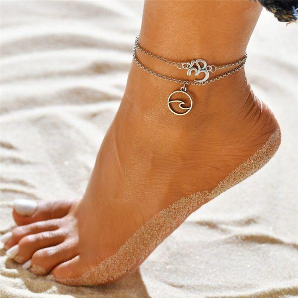 Vagzeb Double Layer Wave Beach Bracciale alla caviglia Lettera Bohemian Jewelry Cavigliere in argento Cavigliere per donna