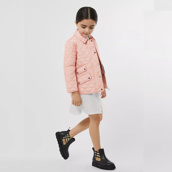 Рождественские девочки устаревать мальчиков лацкане длинный рукав плед подкладка вскользь пальто высокого качества детей согревают ватнике бренд детской одежды P0149