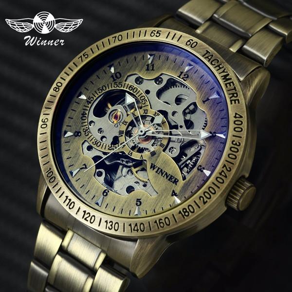 Gewinner 2019 Mode Militray Uhr Männer Auto Mechanische Skeleton Zifferblatt Kupfer Edelstahlarmband Herrenuhren Top-marke Luxus Y19051302