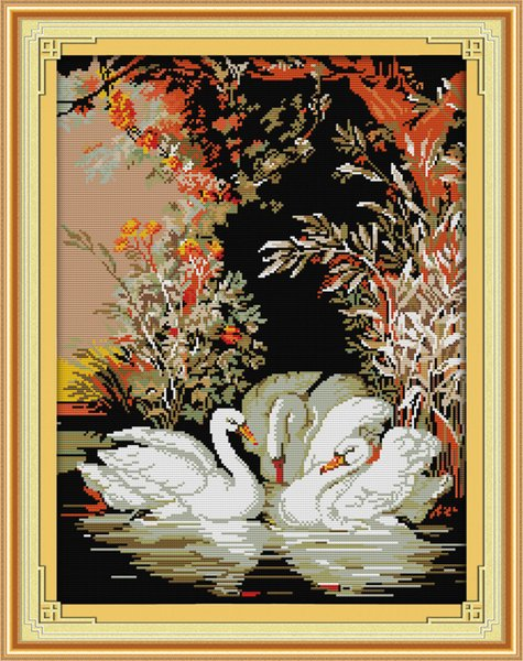 Swans in the lake decor paintings ,Handmade Cross Stitch Embroidery Needlework sets counted print on canvas DMC 14CT /11CT