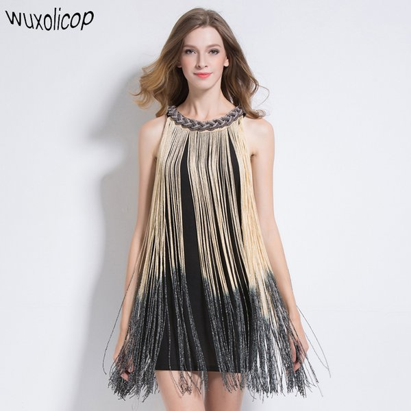 a0dbb42f16805 2019 Great Gatsby Ombre Metal Chain Halter Black 1920s Fringe Flapper  Charleston Dress Robe Sexy Party Bodycon Club Dress Vestido Q190424 From ...