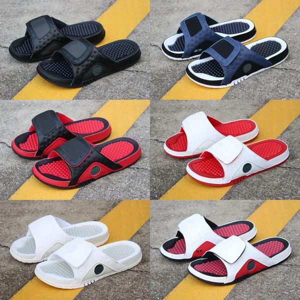 Erkekler Moda Hidro Jumpman 4 IV 13 XIII terlik sandalet 6 VI Slaytlar plaj terlik siyah basketbol ayakkabıları Terlik ABD 7-13