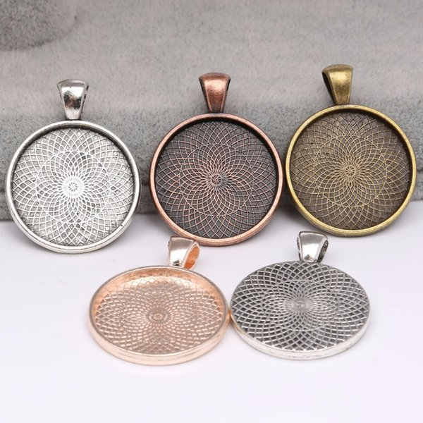 onwear 10pcs 25mm cabochon base pendant setting trays diy blank jewelry bezels antique silver +rose gold+red copper+bronze