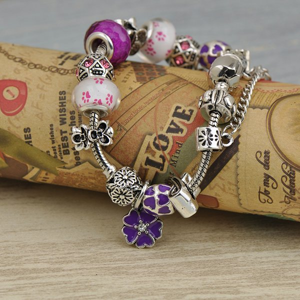 2019 Mujeres de lujo Charms Pulseras Fit Pandora Lampwork Murano Glass Crystal Beads Silver Openwork Stamped Beaded Bangle Petal Pendant Best4