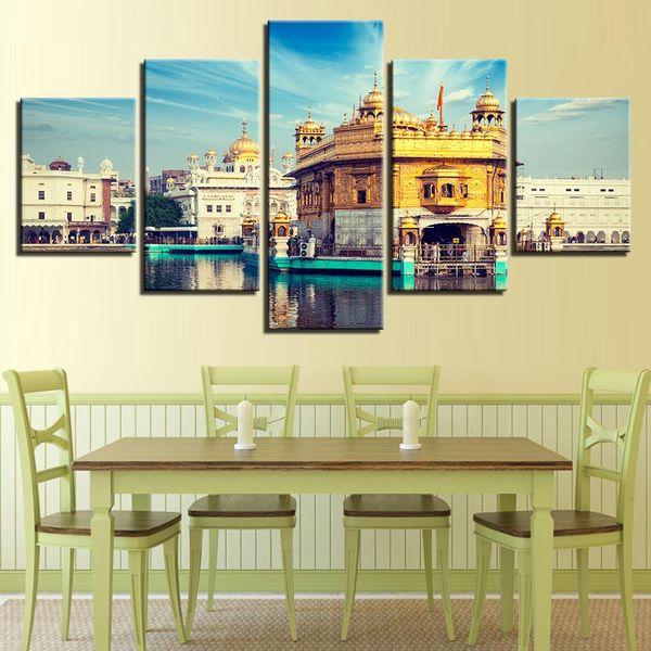 Холст плакаты гостиная HD печатает фотографии Home Decor 5 шт. голубое небо Золотой Храм пейзаж картины стены искусства без рамки