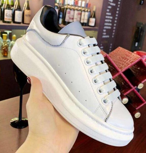 Branded Women Reflective Fabric Lace-up Sneaker DeSigner Men Letter Print Leather Oversized Rubber Sole Casual Shoes With Box