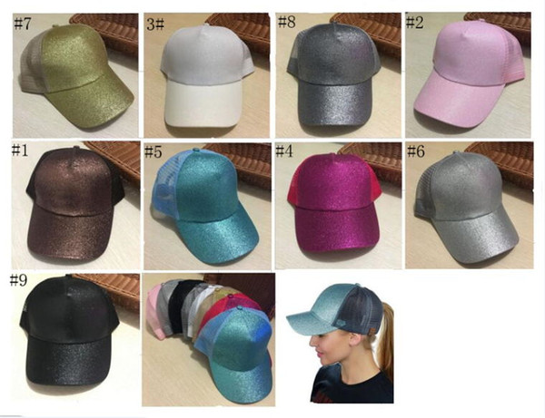 top popular Fashion Glitter Ponytail Hat Messy Bun Glitter Mesh Baseball Cap Sequin Softball Hats for men and women 13 Colors 2019