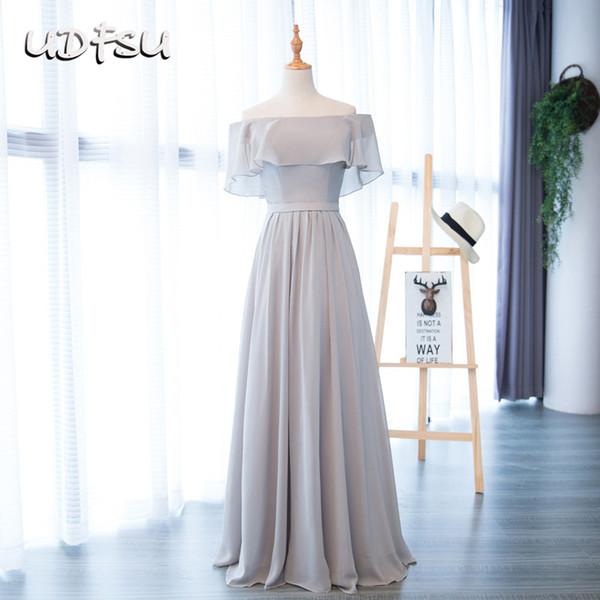 UDFSU Women Off The Shoulder Vintage A-Line Evening Dress Boat Neck Floor Length Bridesmaid Gowns Elegant Evening Dresses