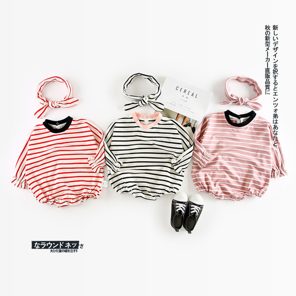2018 Autumn New Arrival Cotton Cute Stripe Climbing Pp Bodysuit With Harbin Dispensing Belt For Cute Sweet Baby Girls And Boys Y19050602