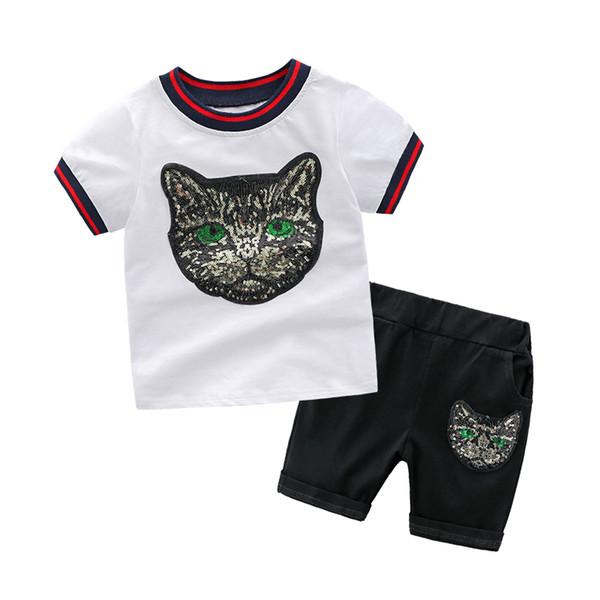 Venta al por mayor de alta calidad para niños Niños Verano O-cuello de impresión de manga corta T-Shirt Top Pants Sets Beach Kid algodón de algodón de dibujos animados Sets 2 UNIDS