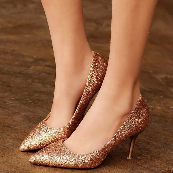 OL Office Lady Shoes Womens High Heels Shoes Gold Sequined Cloth Pumps Woman Dress Shoes Silver Wedding Spring Autumn 2913