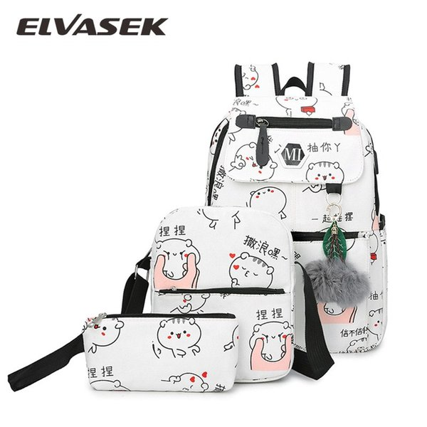 New Women Canvas Backpack 3 Set Lady School Backpacks Schoolbag for Teenagers Cartoon Student USB Charging Preppy Style Satchel