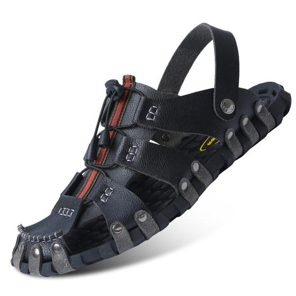 Zapatos de los hombres de verano Fasion PU sandalias de los hombres sandalias de playa al aire libre zapatillas transpirables sandalias planas Zuecos antideslizantes Zapatos De Hombre