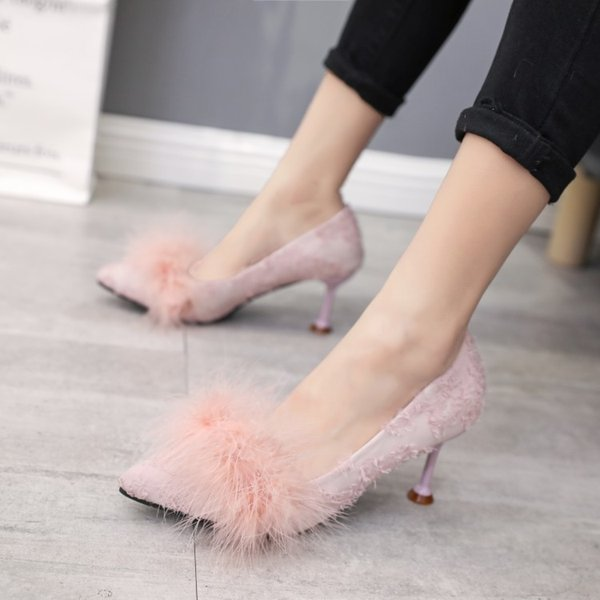 Lucky2019 Inch Three Baby High-heeled Woman Fine With Joker Single Shoe Sexy Sharp Autumn Women's Shoes