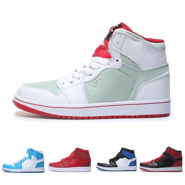 2018 Mens 1 OG Top Uomini Scarpe da basket OG NEW Sneaker di buona qualità Mandarin anatra Trainer moda uomo di lusso scarpe da donna sandali firmati