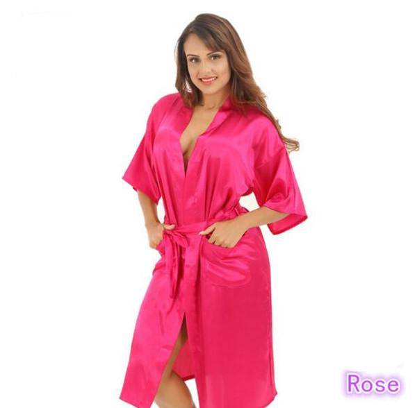 Stock supply nightgown simulation silk ladies pajamas summer solid color silk long bathrobes Japanese kimono cardigan