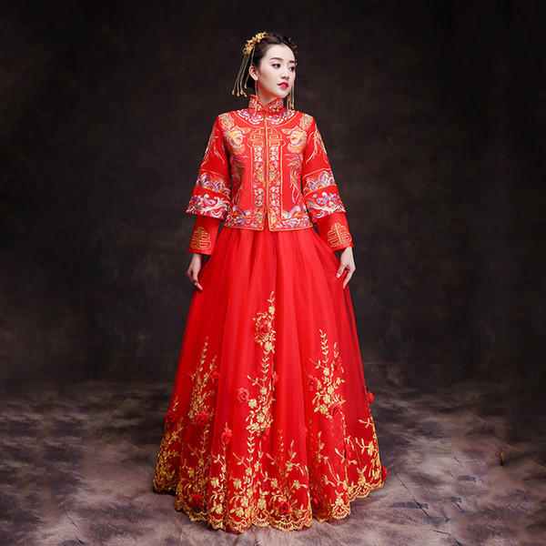 Chinese Women Wedding Dress Toast Clothes Vintage Marriage Cheongsam Suit Embroidery Traditional 2PCS Red Qipao Big Size 3XL