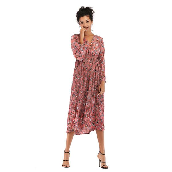 Women's Long Floral Dress Spring Pleated V-neck Slim Long-sleeved Chiffon Skirt New Fashion Female Popular Trend Style jooyoo