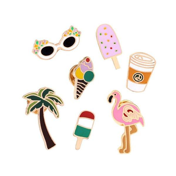Sommer Stil Cartoon Flamingo Kokosnussbaum Eis Zitronensaft Strand Tasse Emaille Broschen Kragen Denim Hemd Brosche Pins