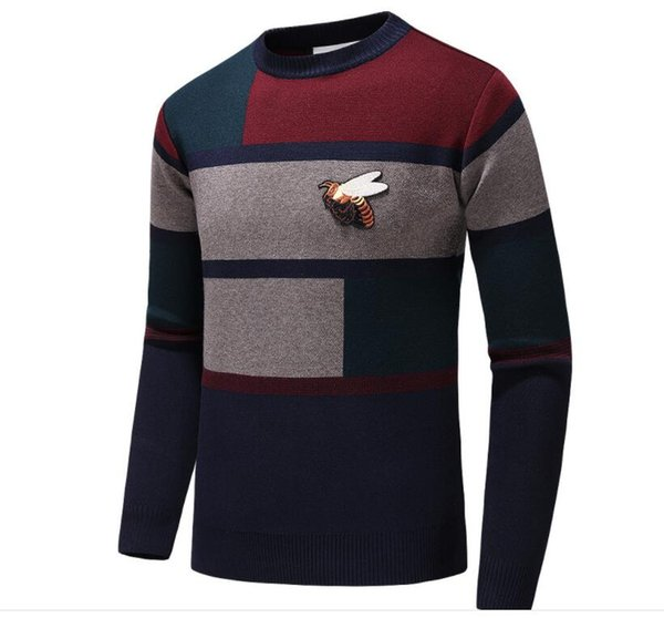 fashion vogue Letter Embroidery Knitwear Winter Mens Clothing Crew Neck Long Sleeve Sweater for Men Fashion Hoodies