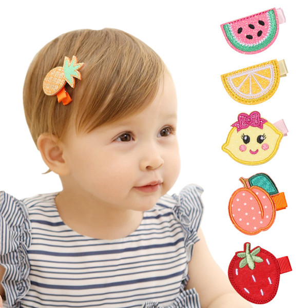 24 pcs/lot Girls Fruits Design Clip Hair Clips Children Princess Embroidery Hairpins Clips Handmade Hairpins Cute Kids Headdress