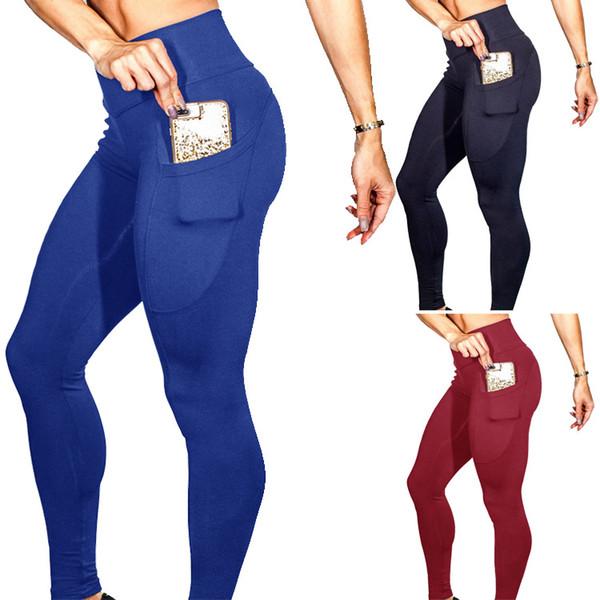 Mulheres Shorts Mulheres Sexy Calças Explosões Cor Sólida Bolso Do Telefone Móvel Bodysuit Estiramento Yoga Hip Leggings De Cintura Alta